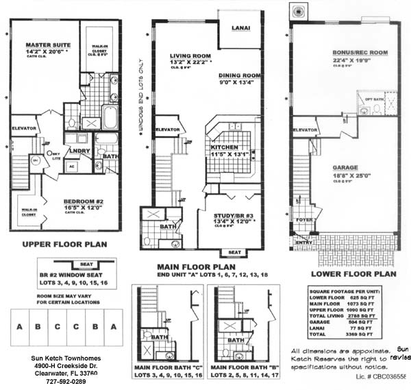 Sunketch homes Luxury townhouse floor plans